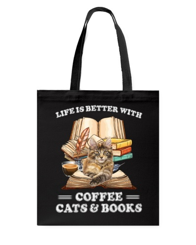 Cats life is better with coffr tote bag