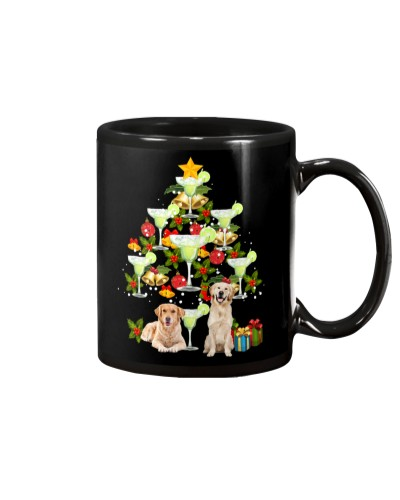 Golden retriever cute christmas tree mug