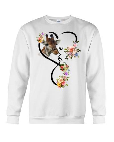 Giraffe love heart flowers