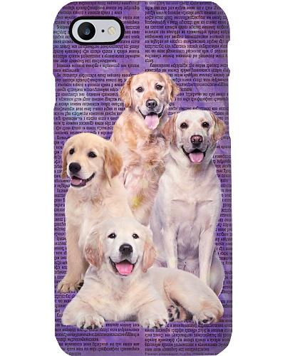 Golden retriever in purple news phone case