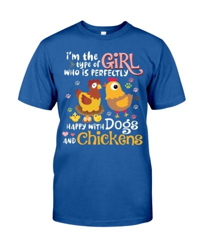 Chickens dogs happy