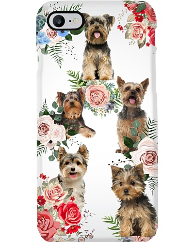 Yorkshire terrier flowers phone case