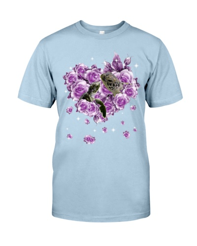 Turtle mom purple rose shirt