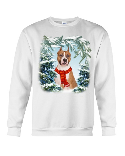 Pitbull in snow forest