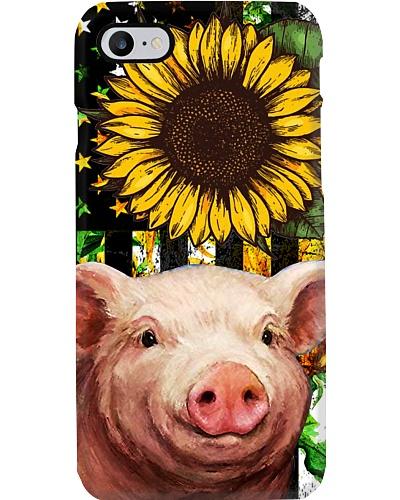 SHN Vintage sunflower American flag Pig