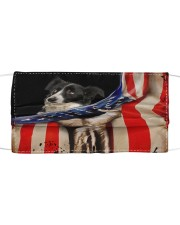 Monica border collie Hello America Cloth face mask front