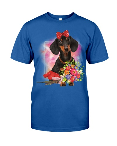 Dachshund so lovely with flowers
