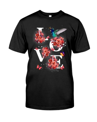 Hummingbird love with red flower shirt