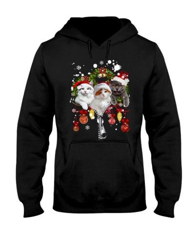 Qhn 7 Christmas Zip Cat Hoodie