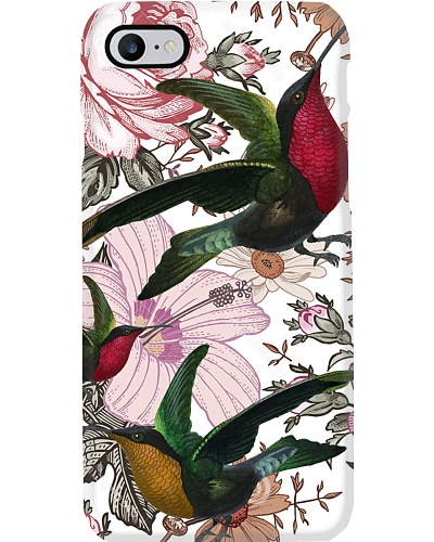 SHN Vintage color flower Hummingbird phone case