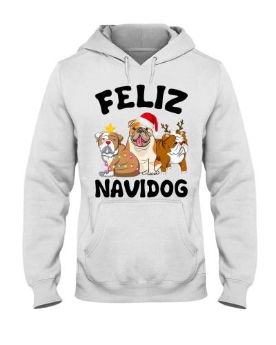 Bulldog feliz navidog