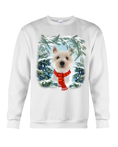 West highland white terrier in snow forest