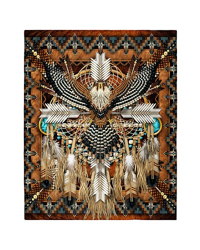 SHN 10 Brown native dreamcatcher Eagle quilt
