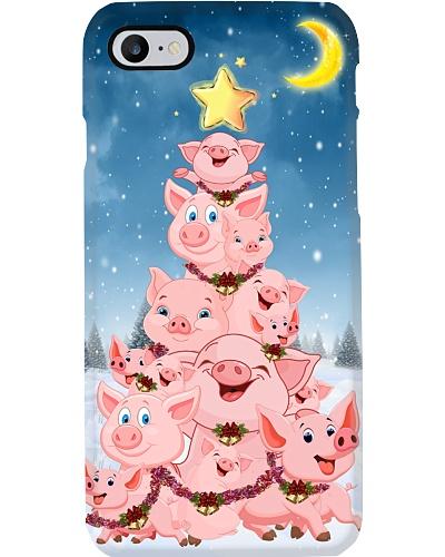 Pig christmas tree phone case