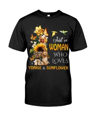 Woman who loves yorkshire and sunflower