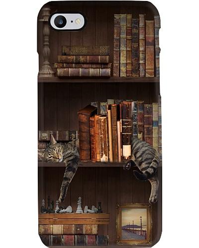 Bookshelf Vintage And Sleeping Cat Phone Case