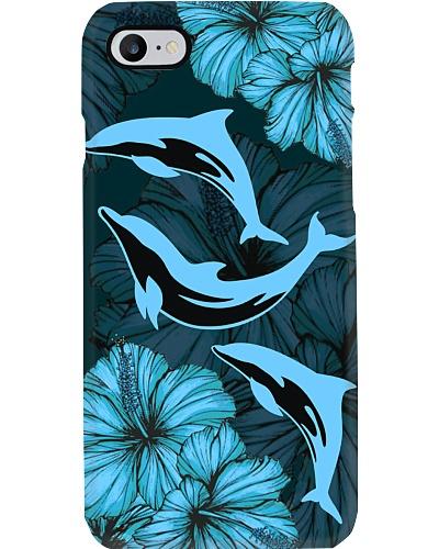 SHN 8 Blue Hibiscus Dolphin phone case
