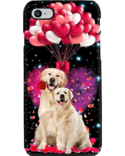 SHN Heart balloons Valentine Golden Retriever case