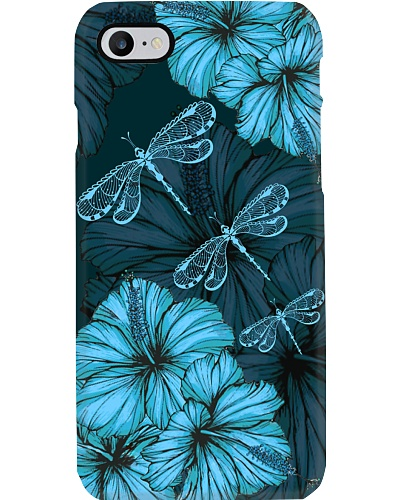 SHN 8 with blue Hibiscus Dragonfly phone case
