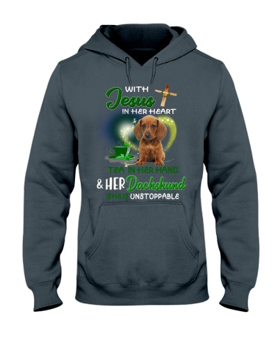 With Jesus Tea and Dashchund she is unstoppable