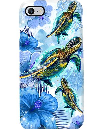 Mt Blue Flower Mandala Turtle Phone Case