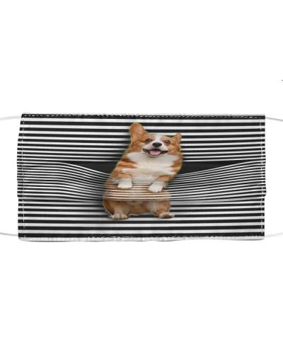 Cute Corgi Climb Curtain