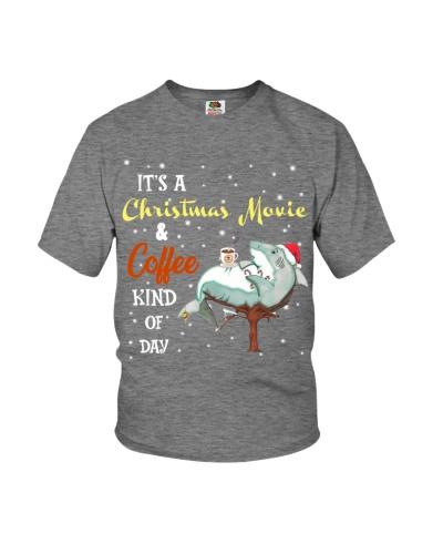Shark christmas movie and coffee