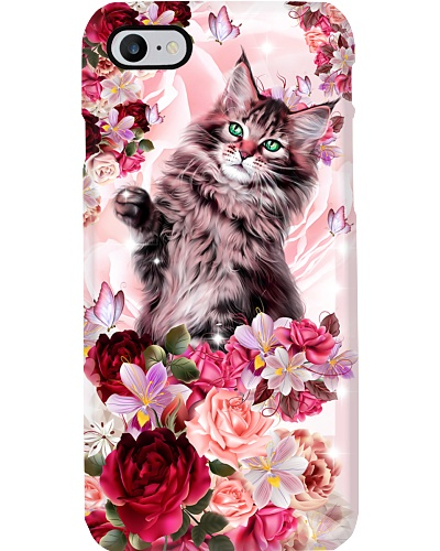 SHN 10 Pink roses Cat phone case