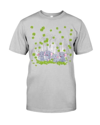 Elephants in four leaf clover forest lucky shirt