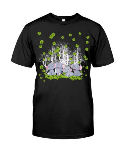 Elephants in four leaf clover forest lucky shirt