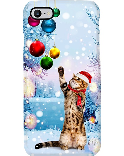 SHN With Christmas ball strips Cat phone case