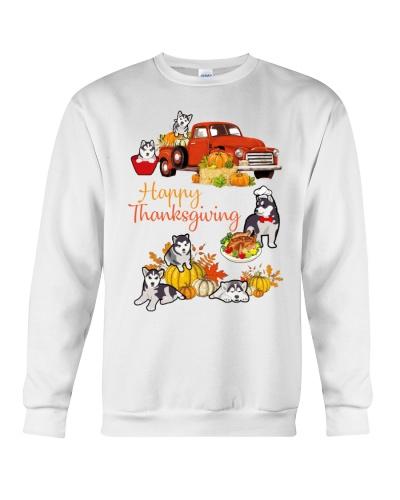 Siberian Husky Happy Thanksgiving truck