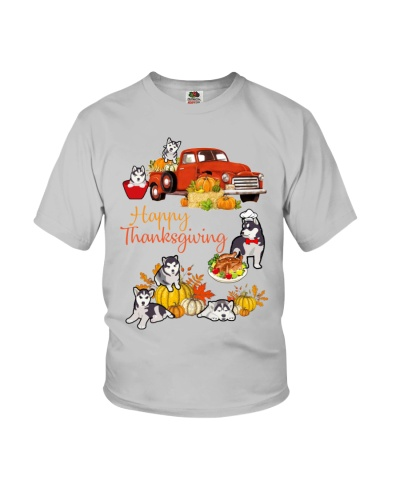 Siberian Husky Happy Thanksgiving truck