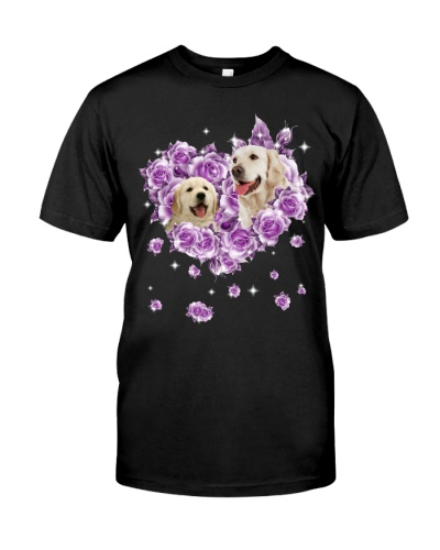 Golden retriever mom purple rose