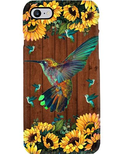 SHN Sunflower on wood Hummingbird phone case