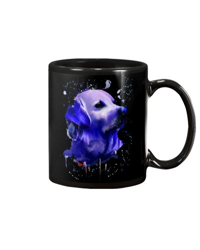 Qhn 3 Art Purple Face Golden Retriever Mug