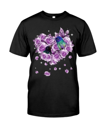 Hummingbird mom purple rose shirt