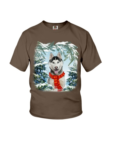 Siberian husky in snow forest
