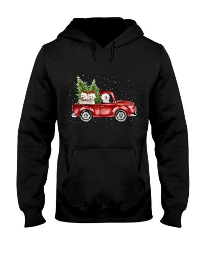 Bichon frise christmas car
