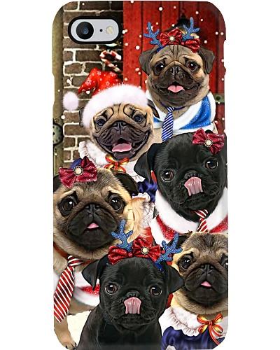 Pug hello christmas phone case