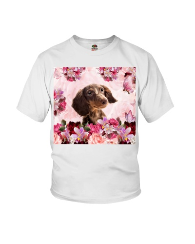 fn dachshund pink flowers