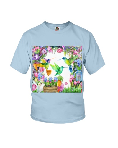Hummingbird In Flower Garden