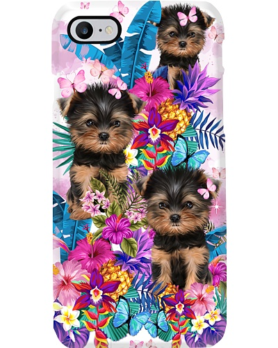Flower Forest Pink Yorkshire Terrier Phone Case