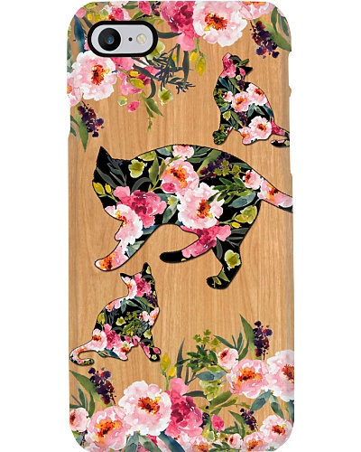 SHN 10 Wood background peony Cat phone case
