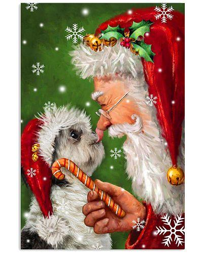 Shih tzu smile with santa christmas poster