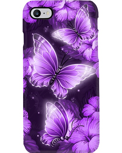 Butterfly purple hibiscus flowers phone case