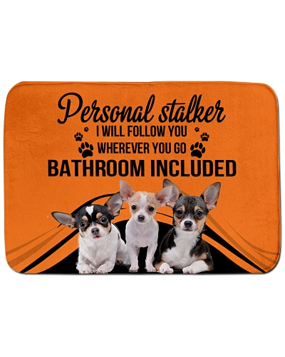 Chihuahua personal stalker bath mat