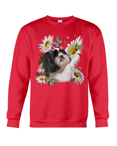 Fn 5 shih tzu play with butterflies and daisies