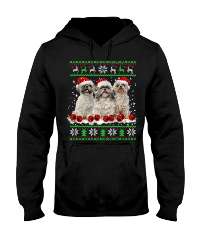 Three Shihtzu ugly Christmas sweater