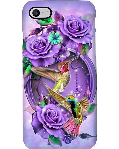 Hummingbird Magical Purple Flower Phone Case